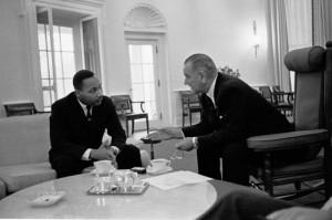 Reverend Doctor Martin Luther King Junior and President Lyndon Baines Johnson