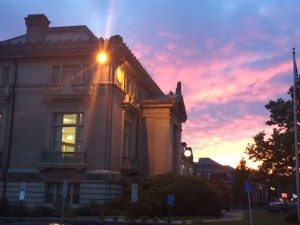 Attleboro Public Library at sunset taken by Meghan Witherell